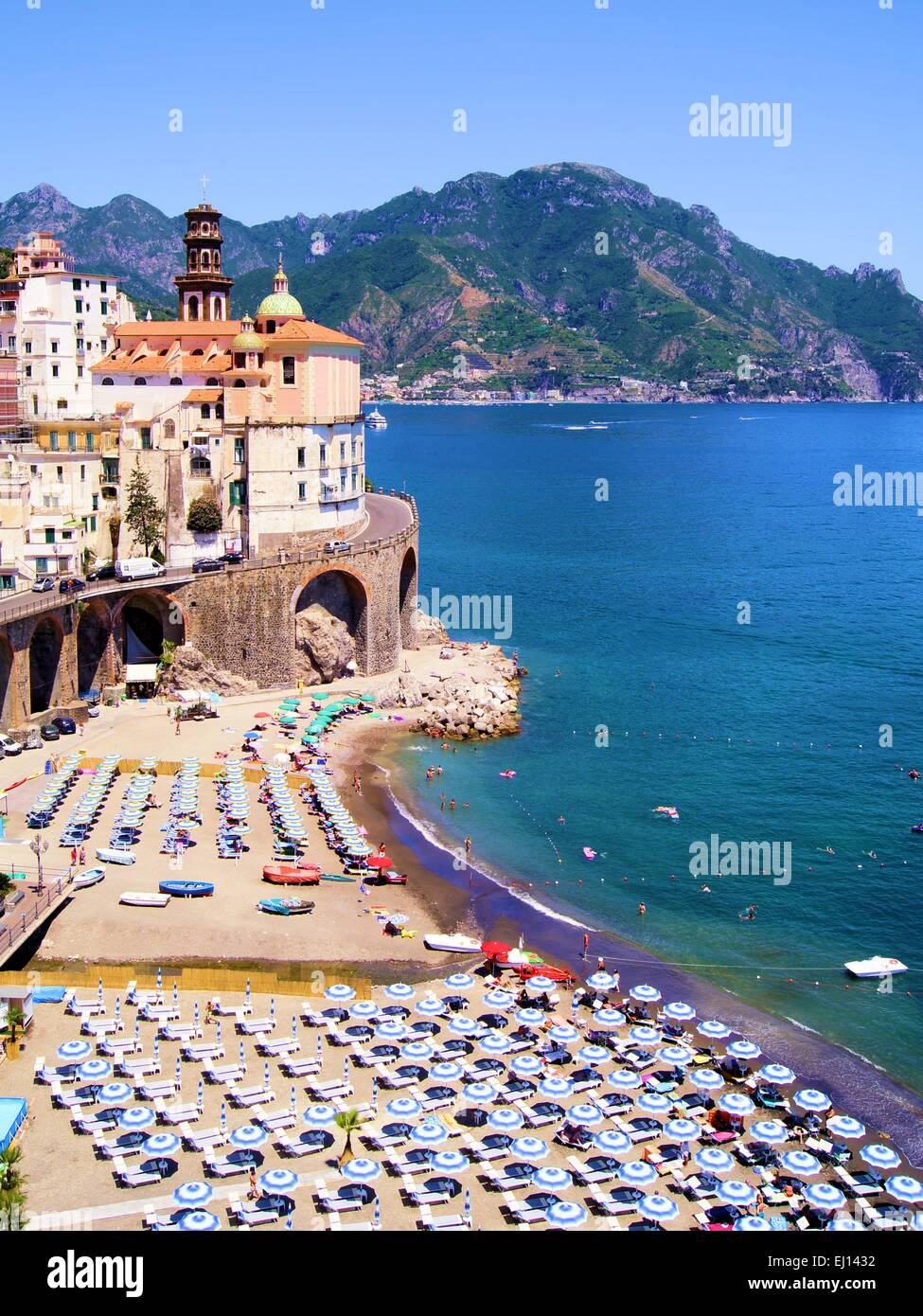Colorful View Over The Beaches Of The Amalfi Coast Italy