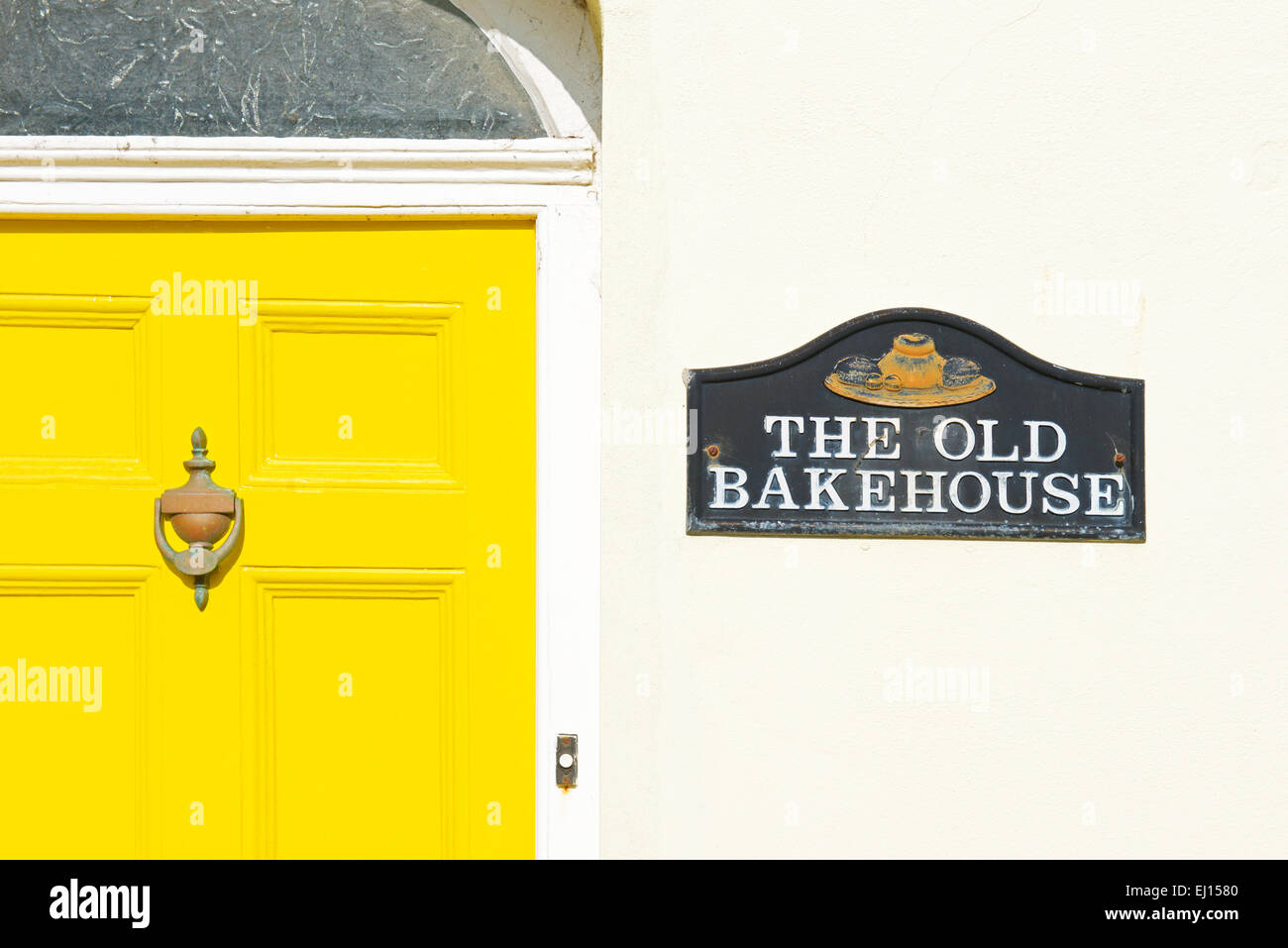 House with name plaque - the old bakehouse - Appledore, Devon. England UK - Stock Image