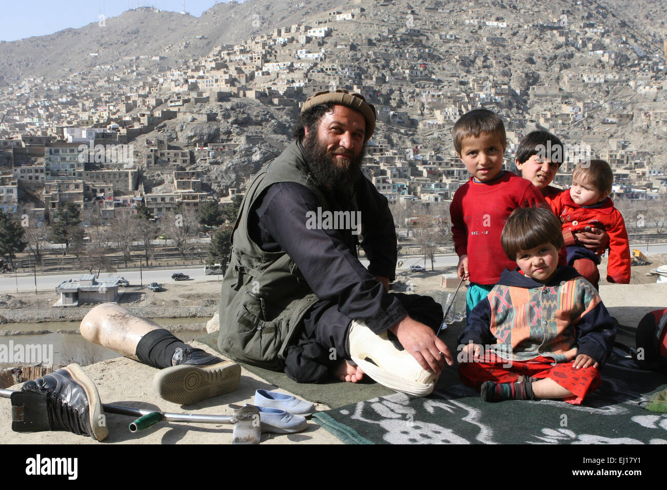 Former mujahideen fighter at his home in Kabul, Afghanistan, 2008. - Stock Image