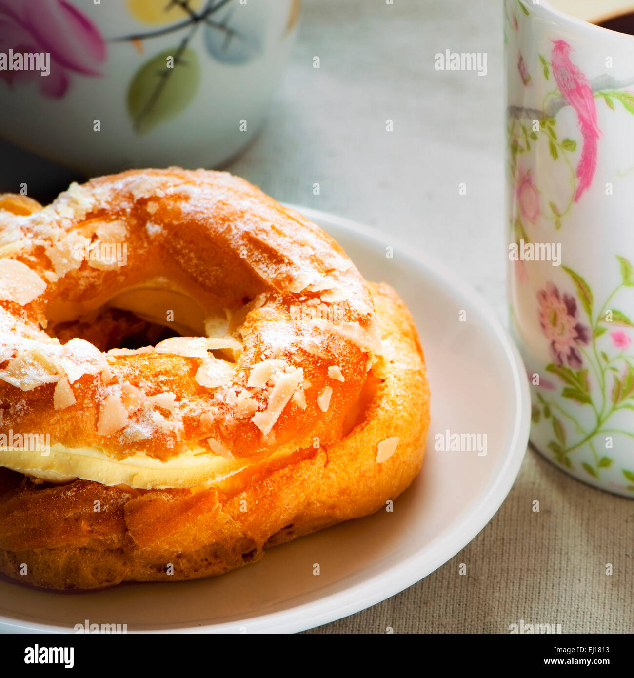 Paris Brest Pastry and coffee - Stock Image
