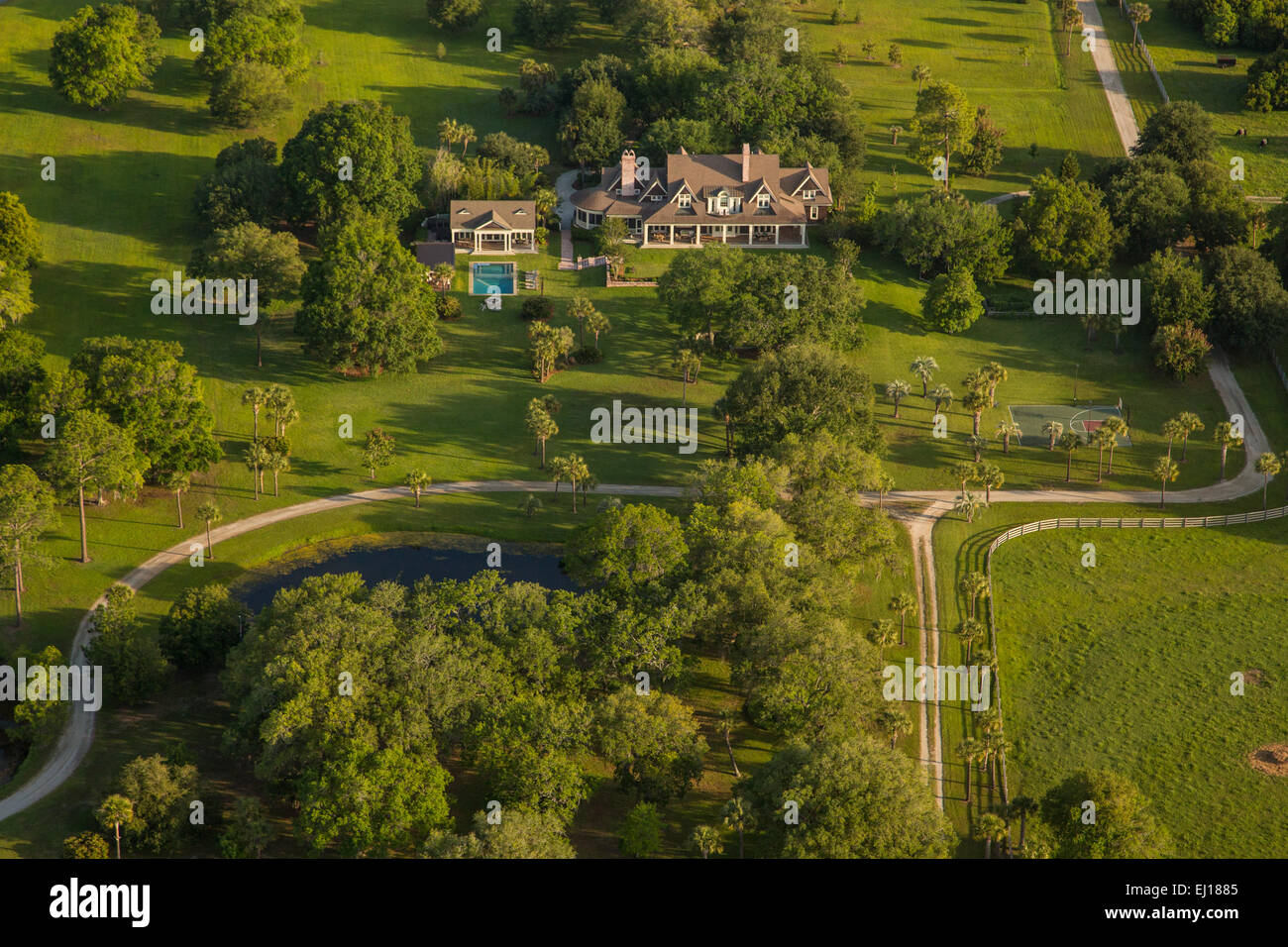 Aerial view of the Darby family estate along the marsh in Mt Pleasant, SC - Stock Image