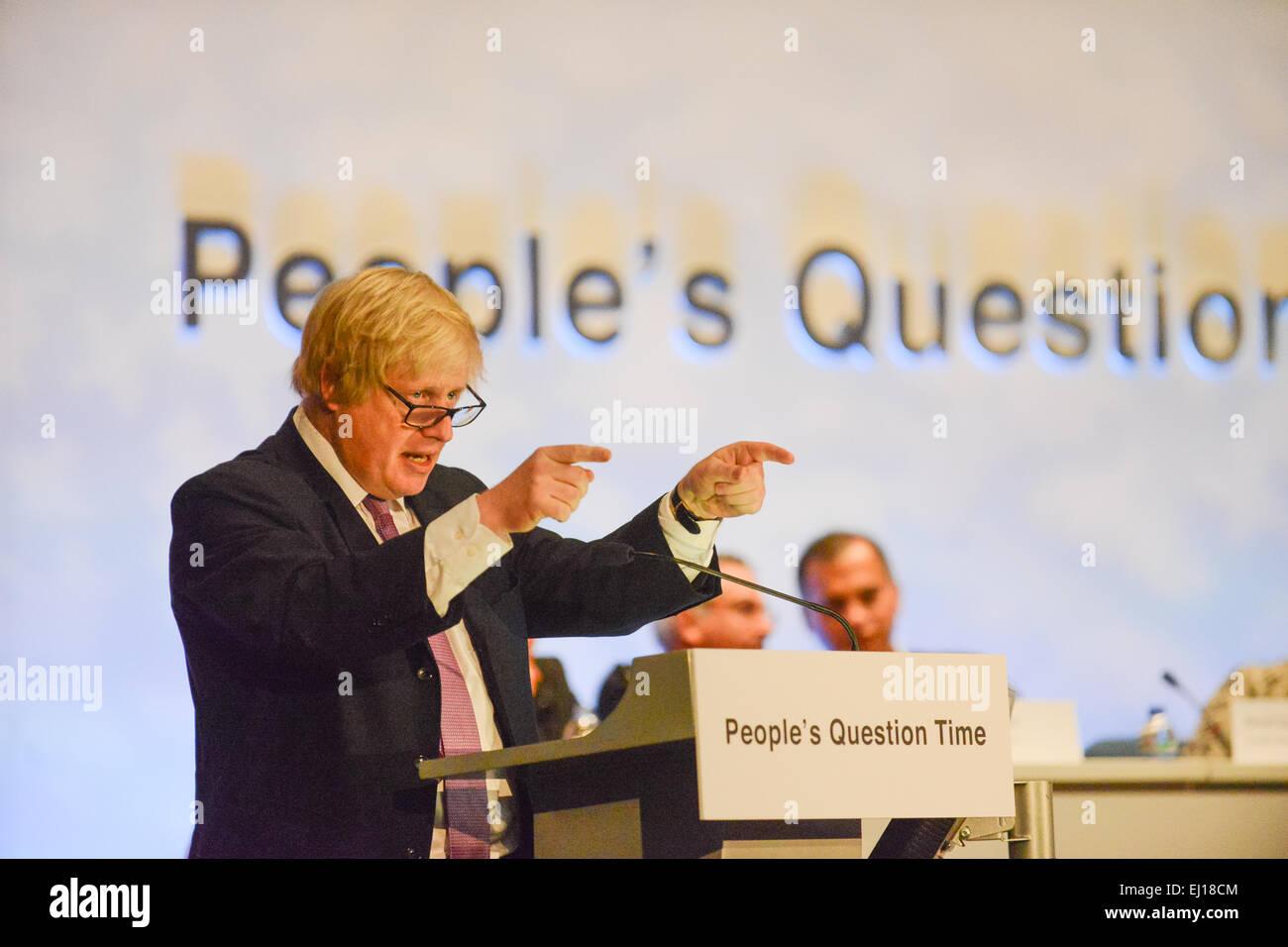 Wood Green, Haringey, London, UK. 19th March 2015. London Mayor Boris Johnson and the London Assembly take part - Stock Image