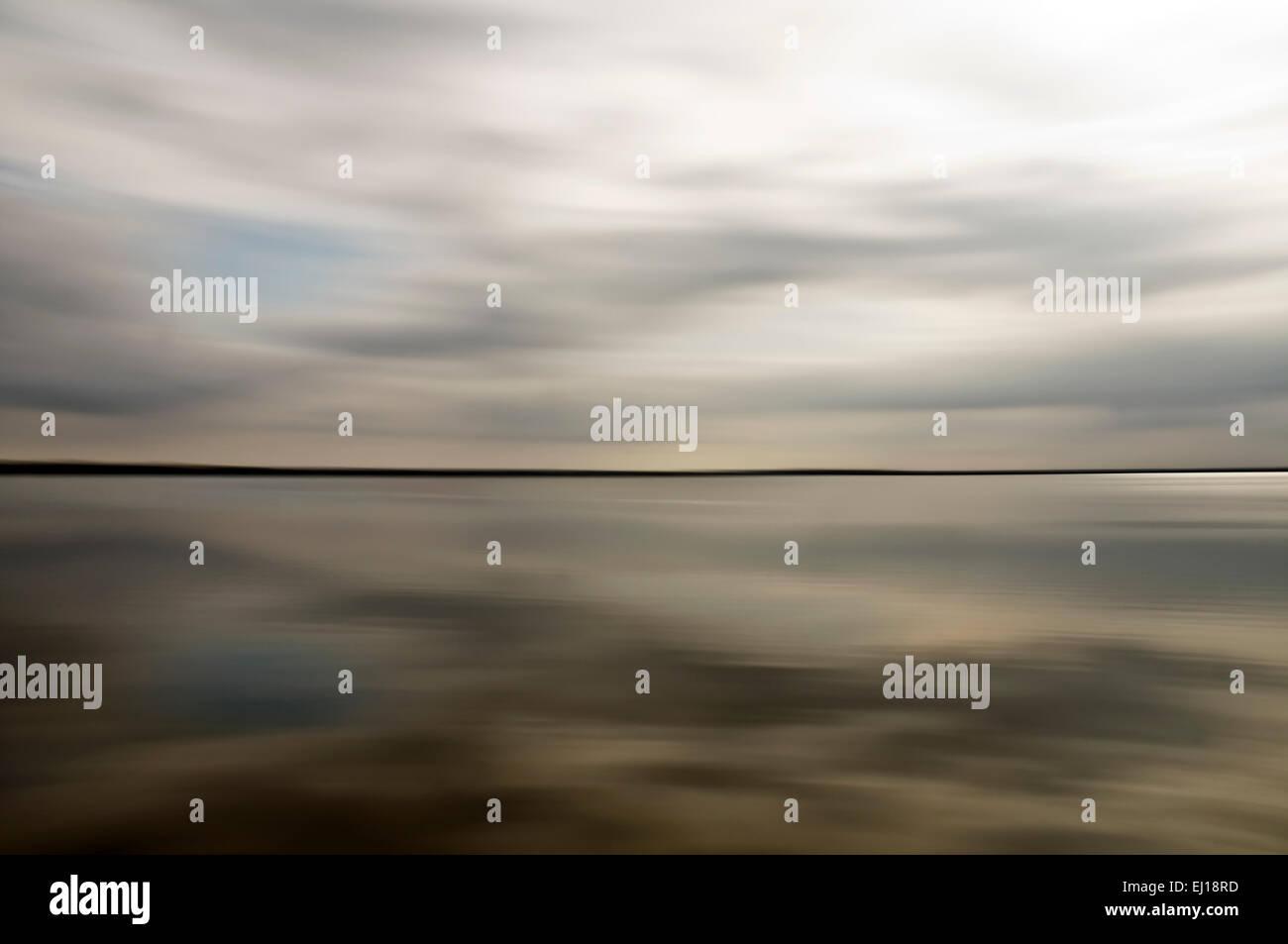 Baltic Sea blurred near Barth Zingst Mecklenburg-Western Pomerania Germany Europe - Stock Image
