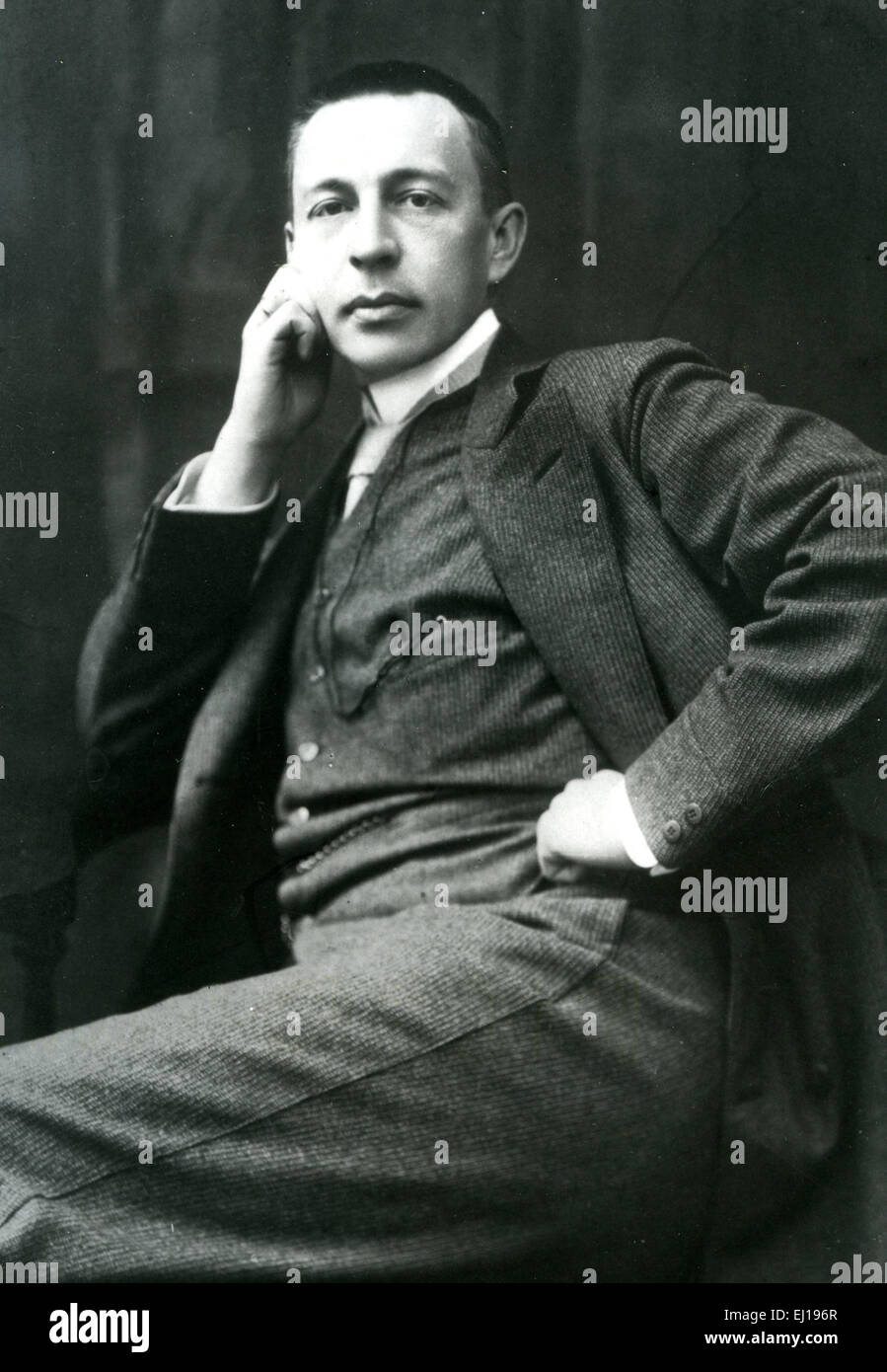 SERGEI RACHMANINOFF (1873-1943) Russian composer about 1920 - Stock Image