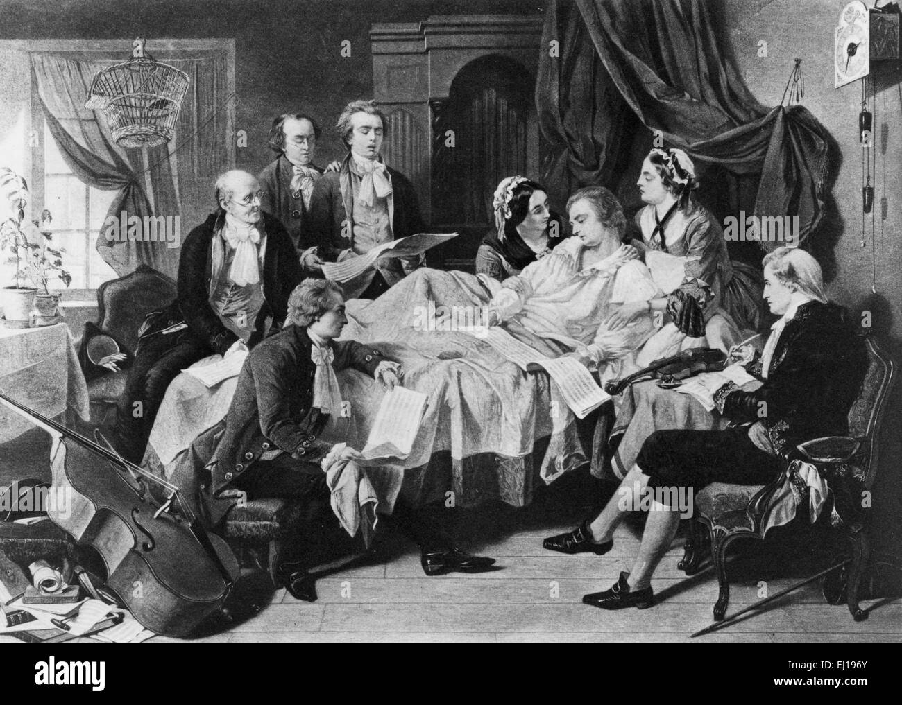 WOLFGANG AMADEUS MOZART (1756-1791) Deathbed scene from a painting by Henry O'Neil about 1860 - Stock Image