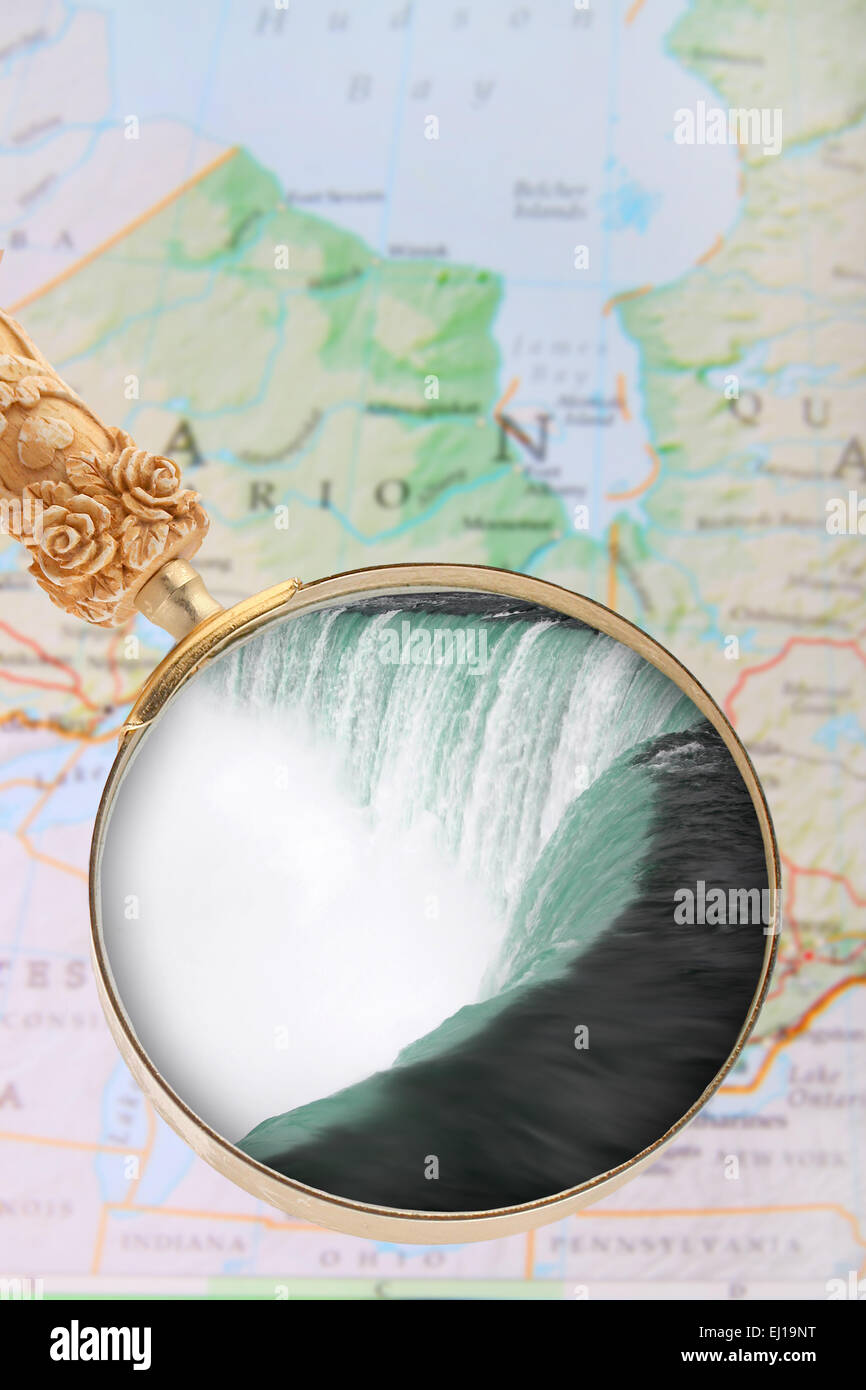 Looking In On Niagara Falls With Map Of Ontario Canada