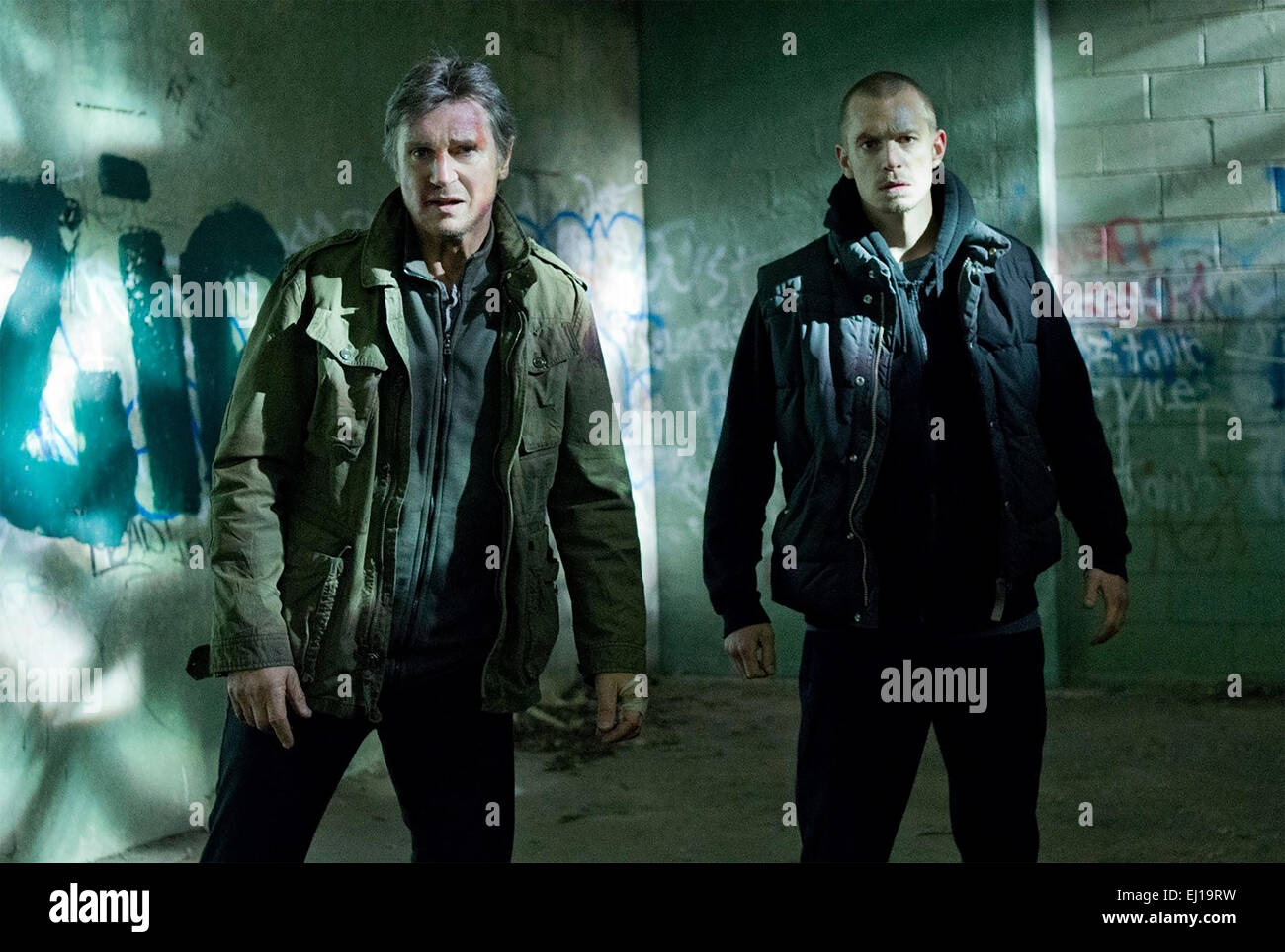 RUN ALL NIGHT  2015 Warner Bros film with Liam Neeson at left and Joel Kinnaman - Stock Image