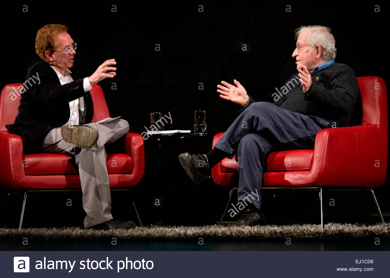 March 15th 2015 Noam Chomsky interviewed by writer and Washington D.C. correspondent for the Nation Magazine, John - Stock Image