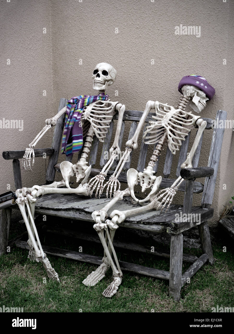 SKELETONS SITTING WAITING Conceptual dark humour image of two skeletons sitting waiting together on a bench - Stock Image