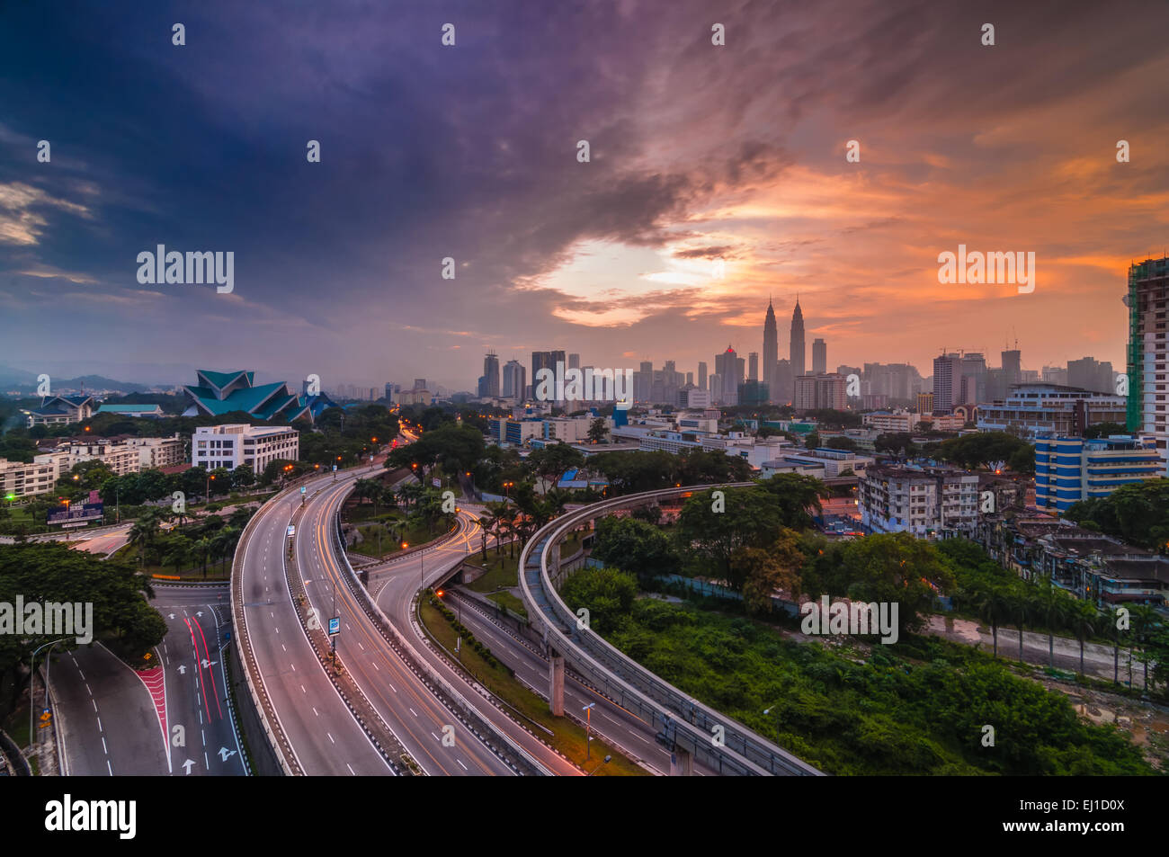 urban view from top during sunrise - Stock Image