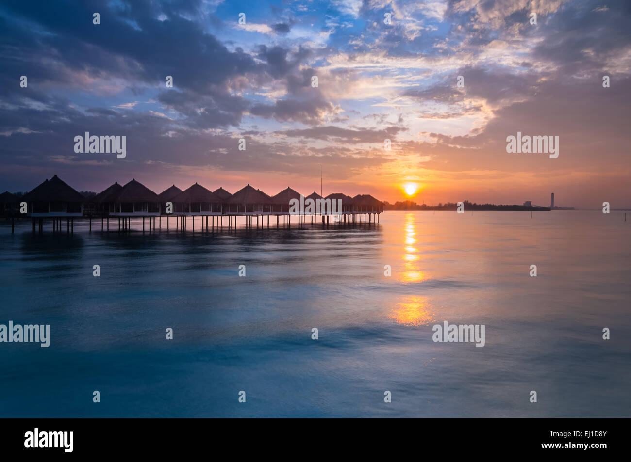 Sunrise from floating resort at bagan lalang selangor - Stock Image
