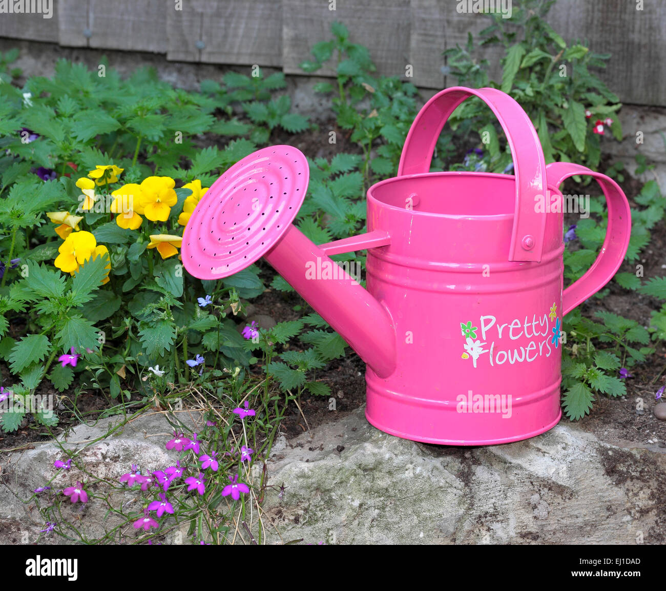 Childs pink watering can with the words pretty flowers written on childs pink watering can with the words pretty flowers written on the side mightylinksfo