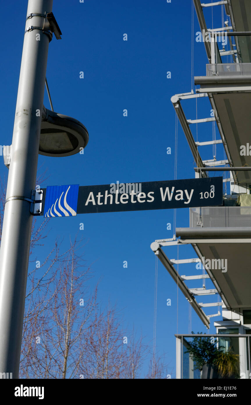 Athlete's Way street in the Village on False Creek, former 2010 Olympic Village, Vancouver,  British Columbia, - Stock Image