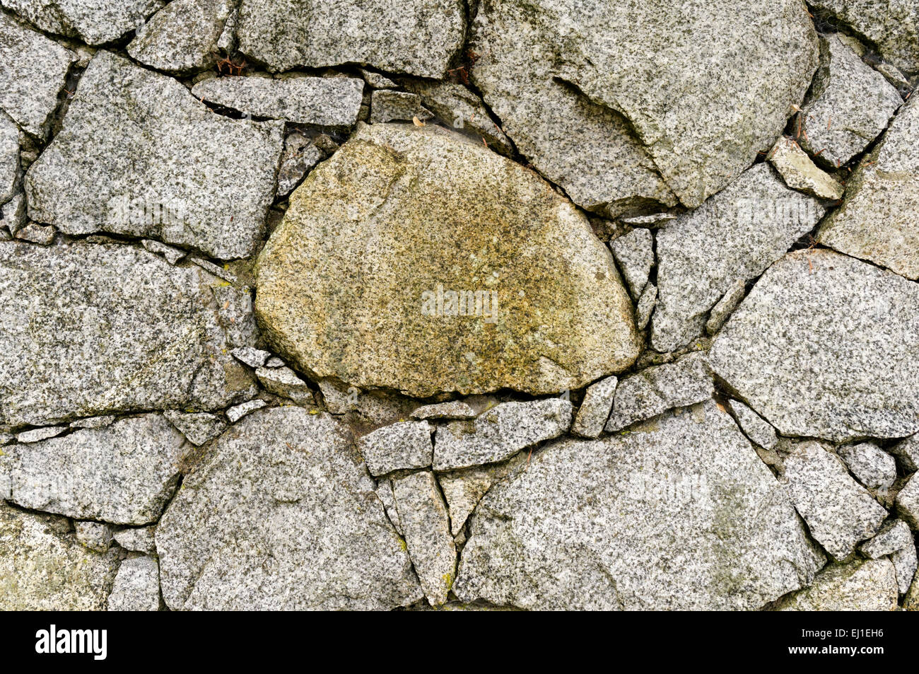 Close-up of a dry stone wall with chinking stones Stock Photo