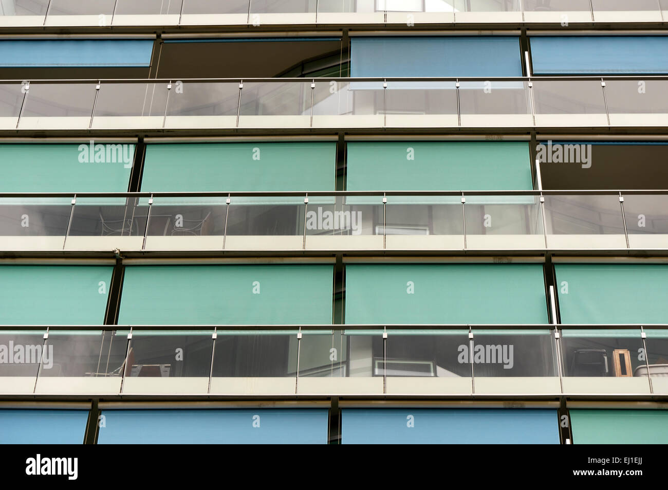Architectural detail of a modern condominium building, False Creek Village, Vancoover, BC, Canada - Stock Image