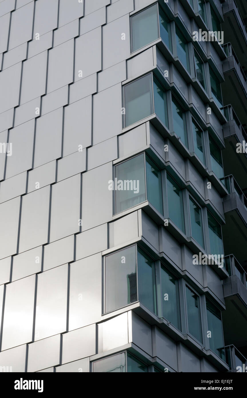 Architectural detail of a modern condominium tower, False Creek Village, Vancouver, BC, Canada - Stock Image
