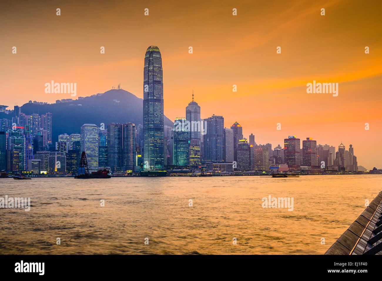 Hong Kong, China cityscape at Victoria Harbor. - Stock Image
