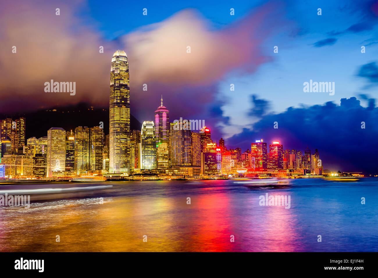 Hong Kong, China downtown city skyline at Vitoria Harbor. - Stock Image