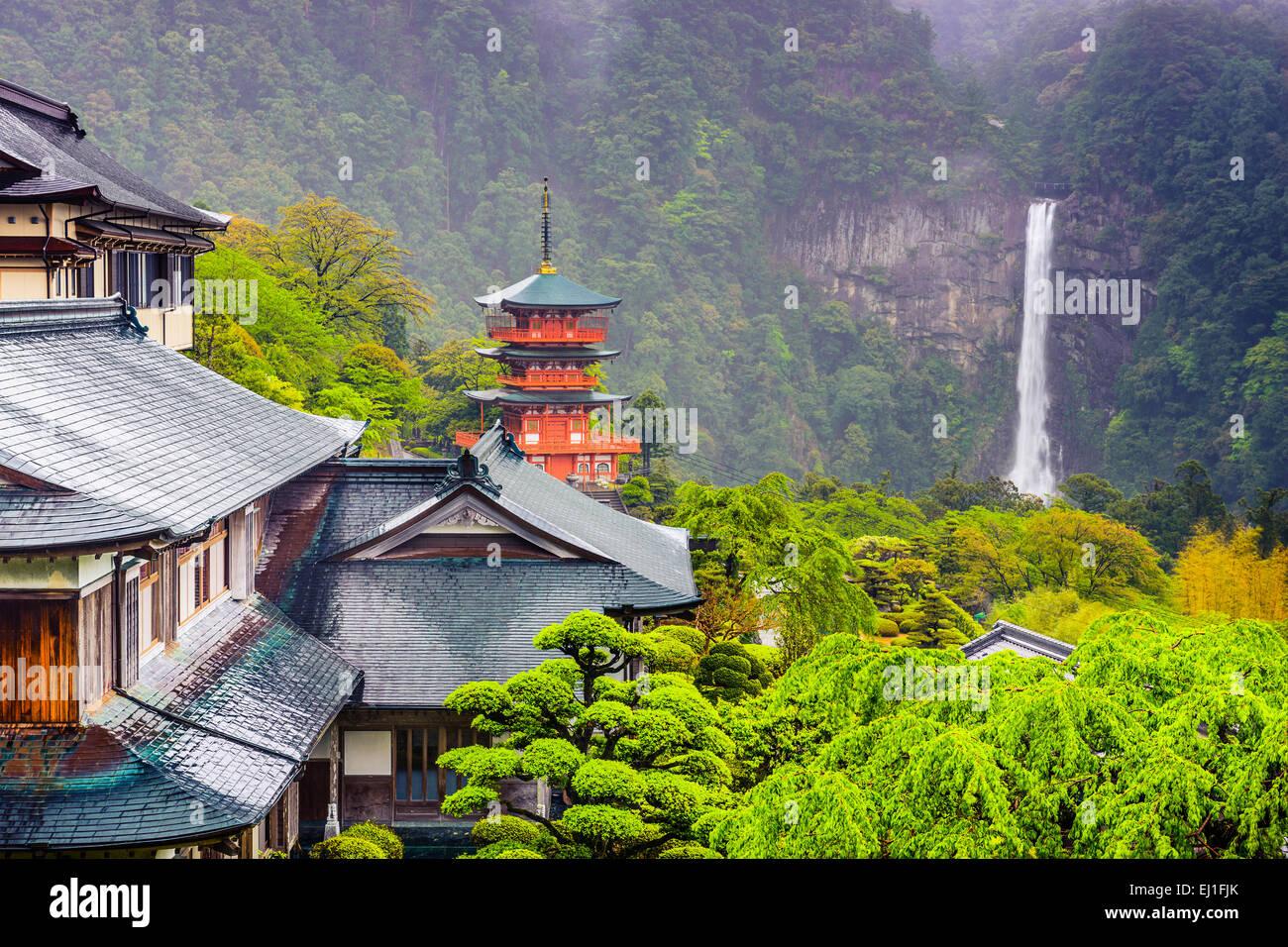 Nachi, Japan hillside temples with Seiganto-ji Pagoda and Nachi Waterfall. - Stock Image