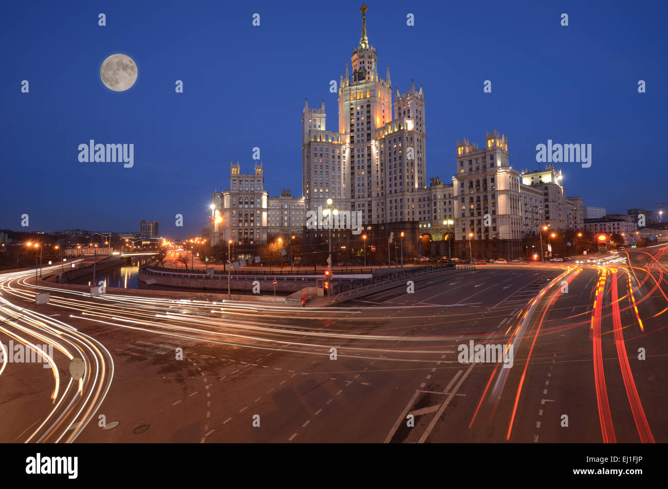 Streets by the river in the historical center of Moscow. Russia. Stock Photo