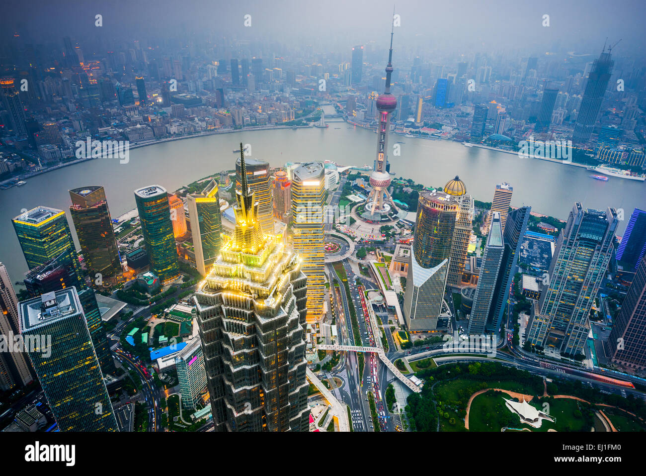Shanghai, China cityscape over the financial district. - Stock Image
