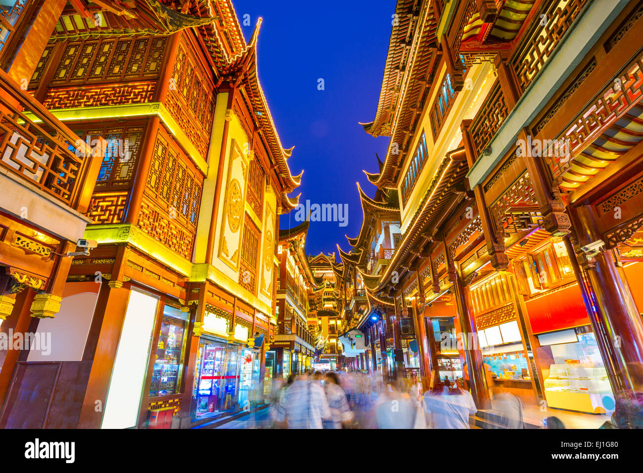 Shanghai, China at traditional Bazaar near Yuyuan Gardens. - Stock Image