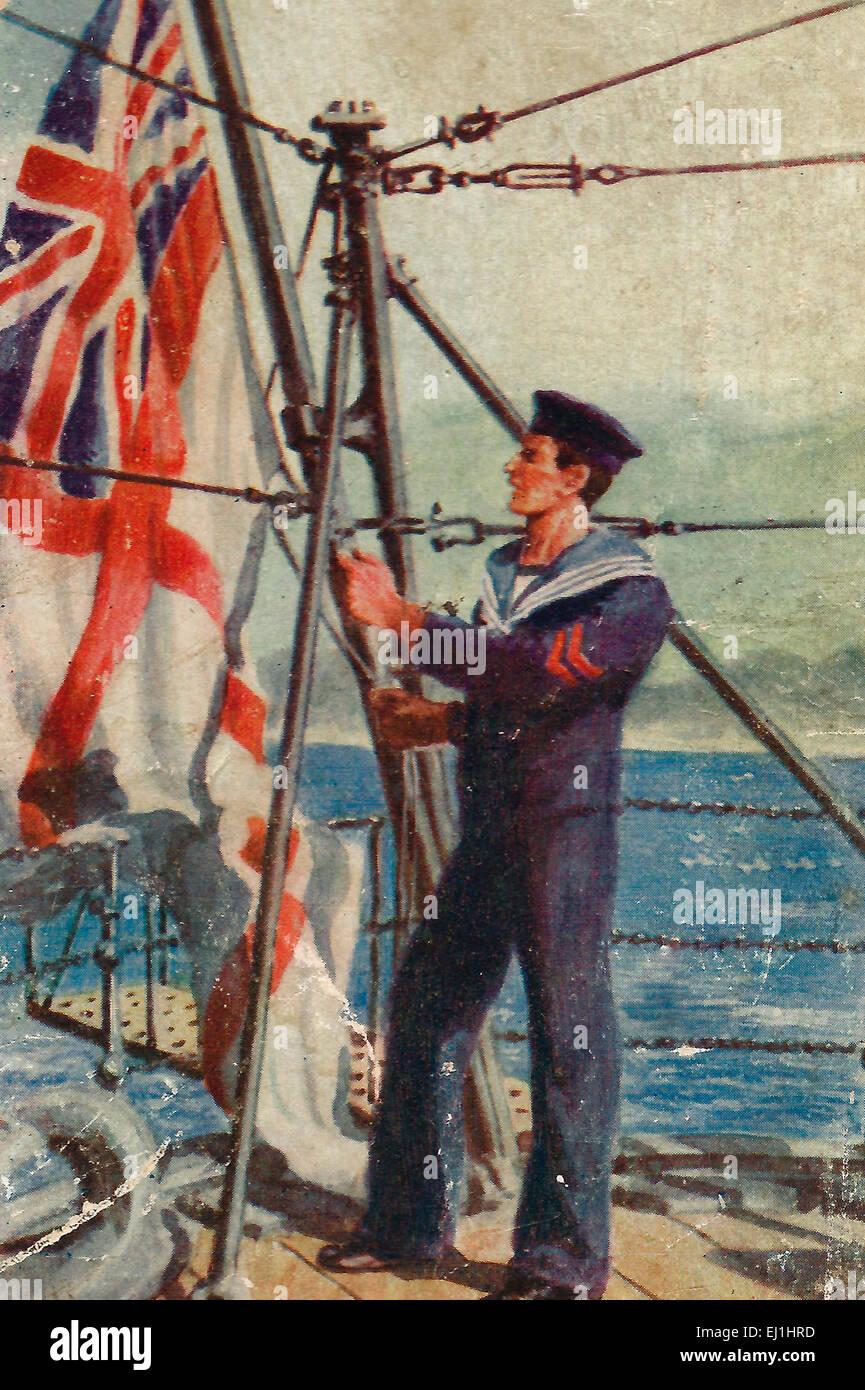 British Blue Jacket putting up the Union Jack and St. George Cross, World War I - Stock Image