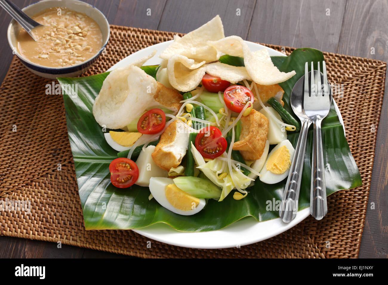 gado gado, indonesian salad with peanut sauce and krupuk - Stock Image