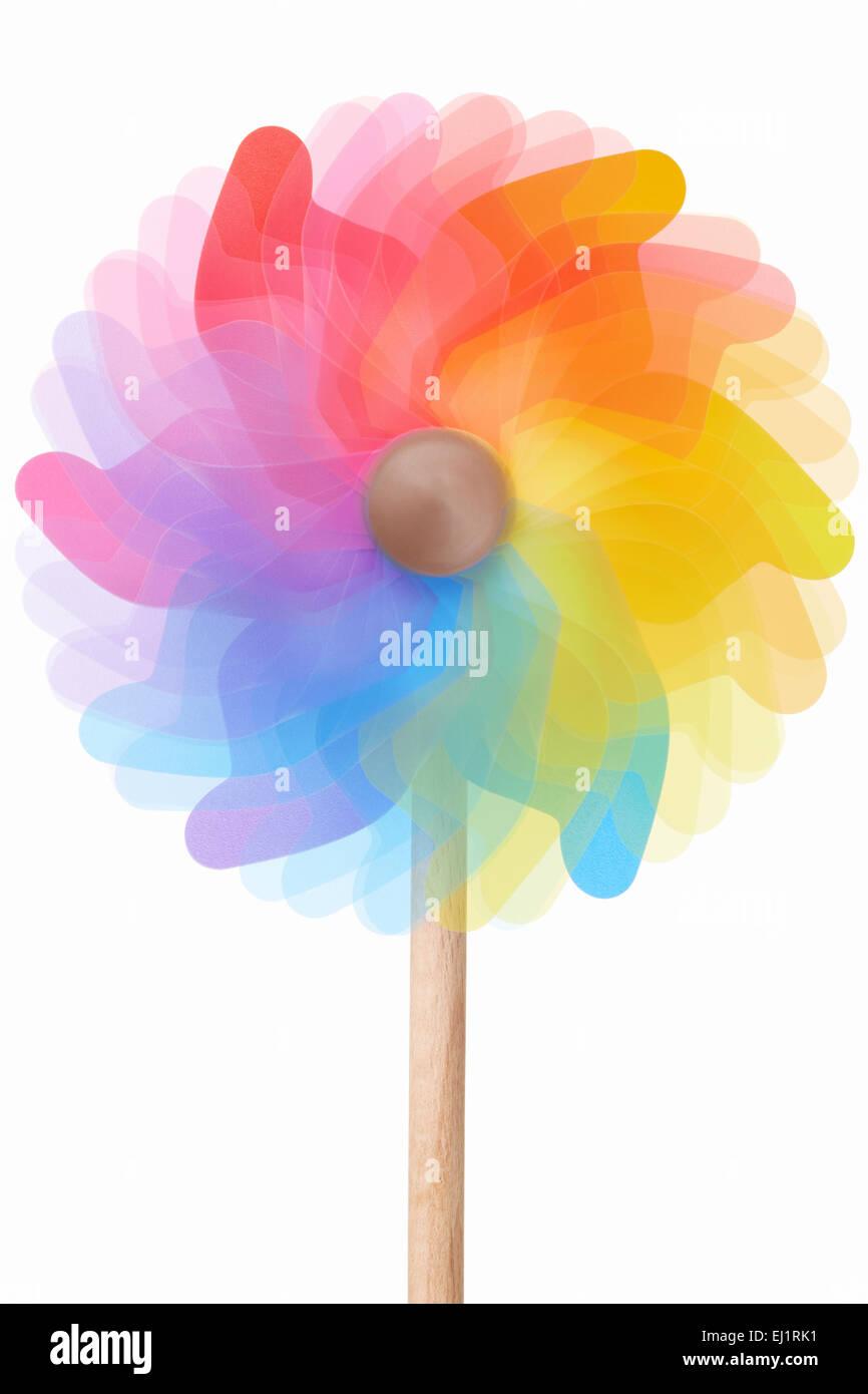 Pinwheel, rotating colorful toy - Stock Image