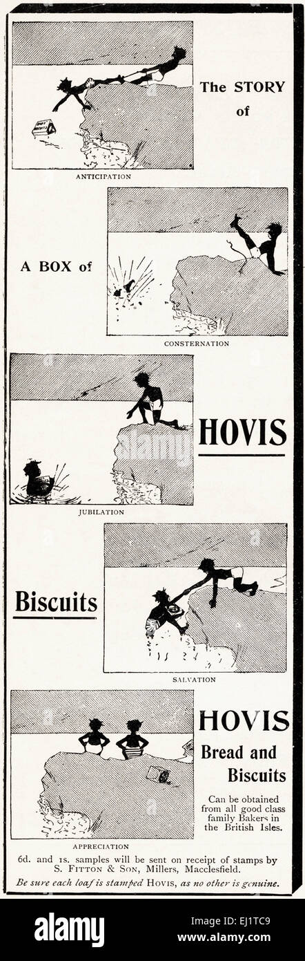 Advert for HOVIS bread & biscuits by S Fitton & Sons Millers of Macclesfield in Victorian era magazine dated - Stock Image