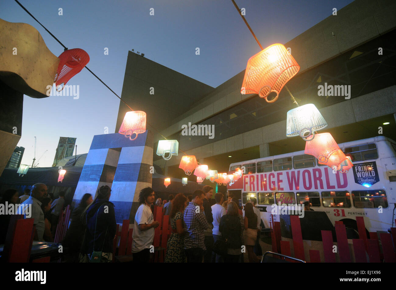 People queue for tickets at the Fringe Festival 2015, Perth, Western Australia. No MR or PR - Stock Image