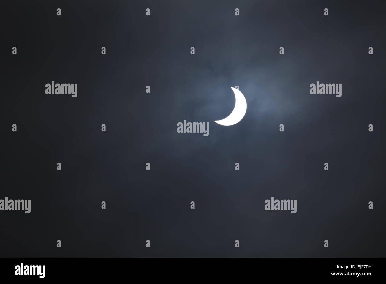 Swindon, Wiltshire, UK. 20th Mar, 2015. Friday, 20th March 2015. A partial solar eclipse taken from Swindon, Wiltshire, - Stock Image