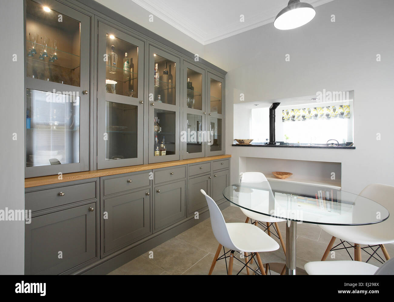 Fitted Display Cabinet In The Dining Area Of A Modern Uk