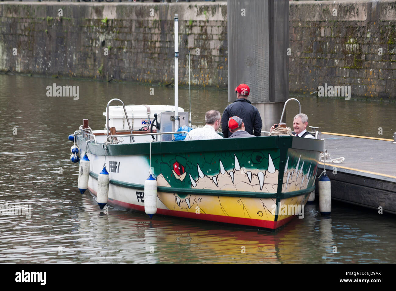 Taking a ride on the ferry on the River Avon at Bristol in May - Stock Image