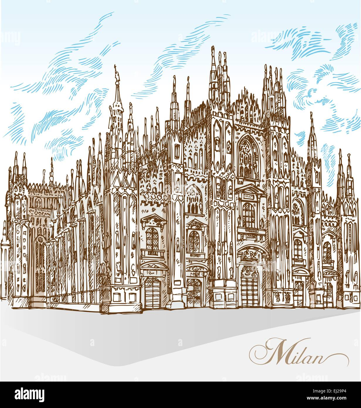 milan cathedral hand draw - Stock Vector