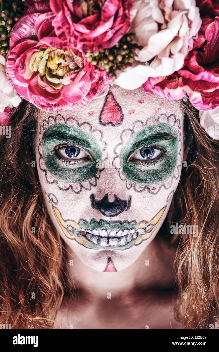 Halloween Makeup Scary.Portrait Of Woman With Wreath And Scary Halloween Makeup