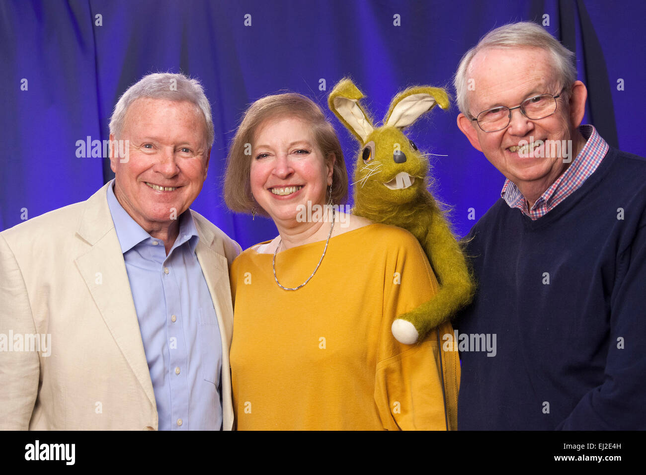 Walsall, West Midlands, UK. 20 March 2015. David Hamilton (L) with writer performer Gail Renard and puppeteer Nigel - Stock Image