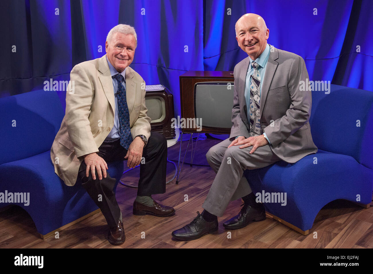 Walsall, West Midlands, UK. 20 March 2015. David Hamilton (L) with comedy writer Colin Edmonds at a recording of - Stock Image