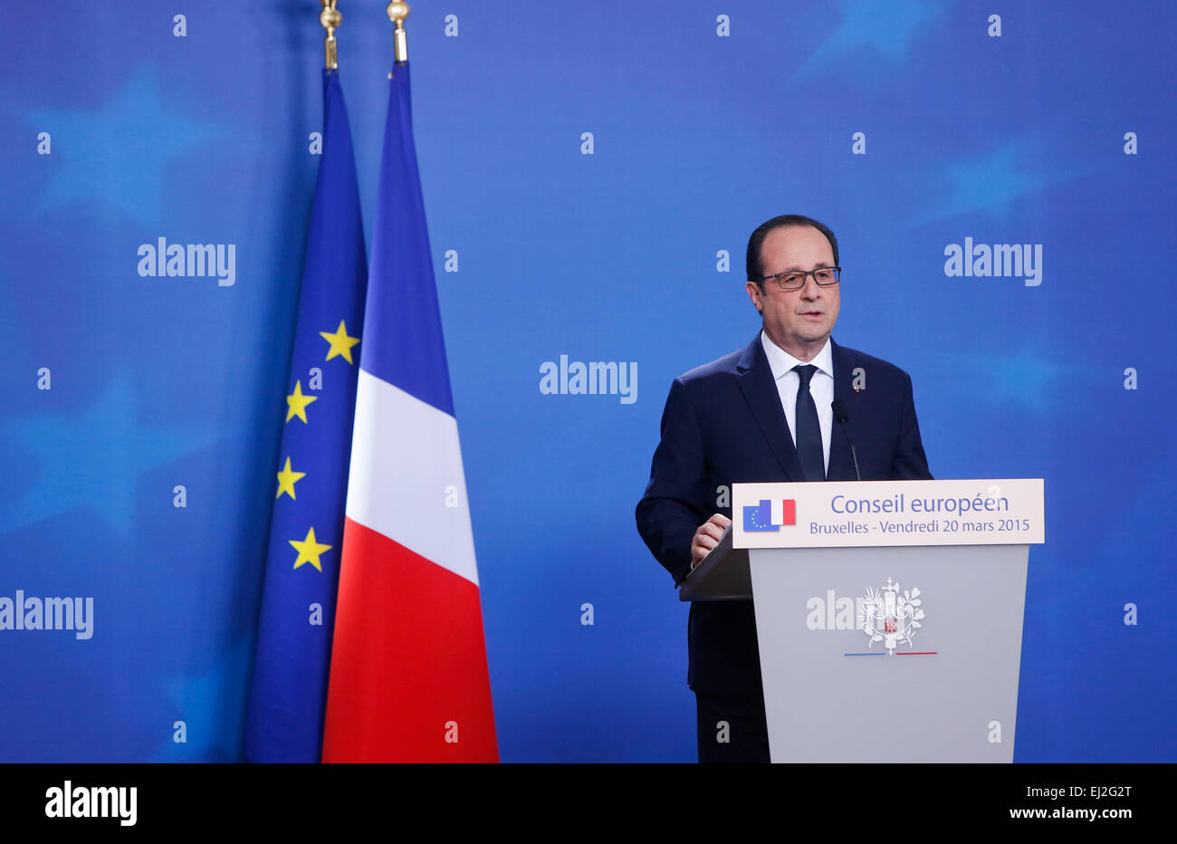 Brussels, Belgium. 20th Mar, 2015. French President Francois Hollande reacts during a press conference after the - Stock Image