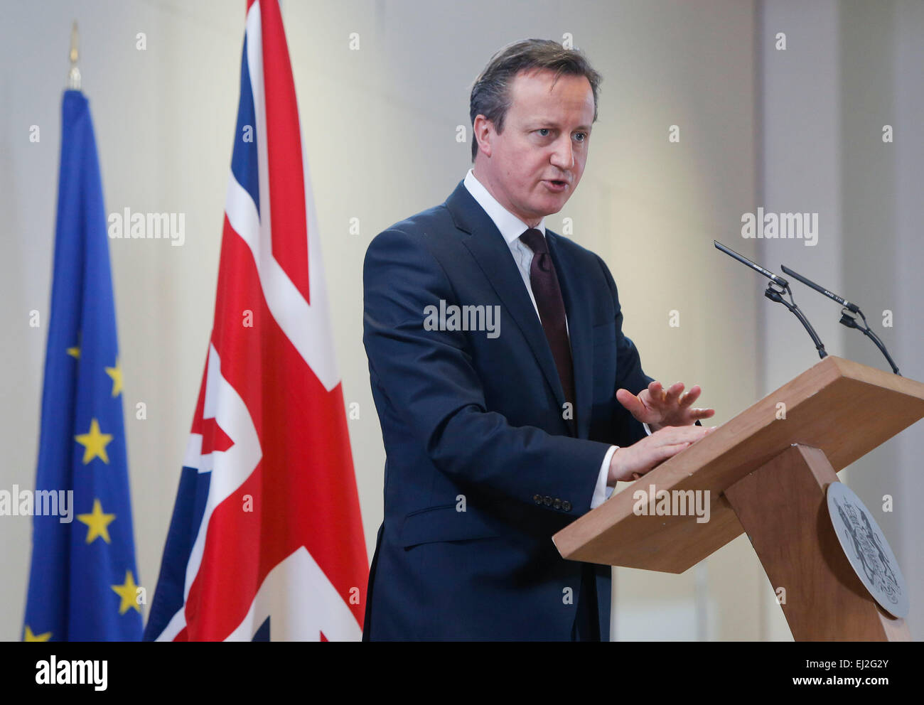 Brussels, Belgium. 20th Mar, 2015. British Prime Minister David Cameron speaks during a press conference after the Stock Photo