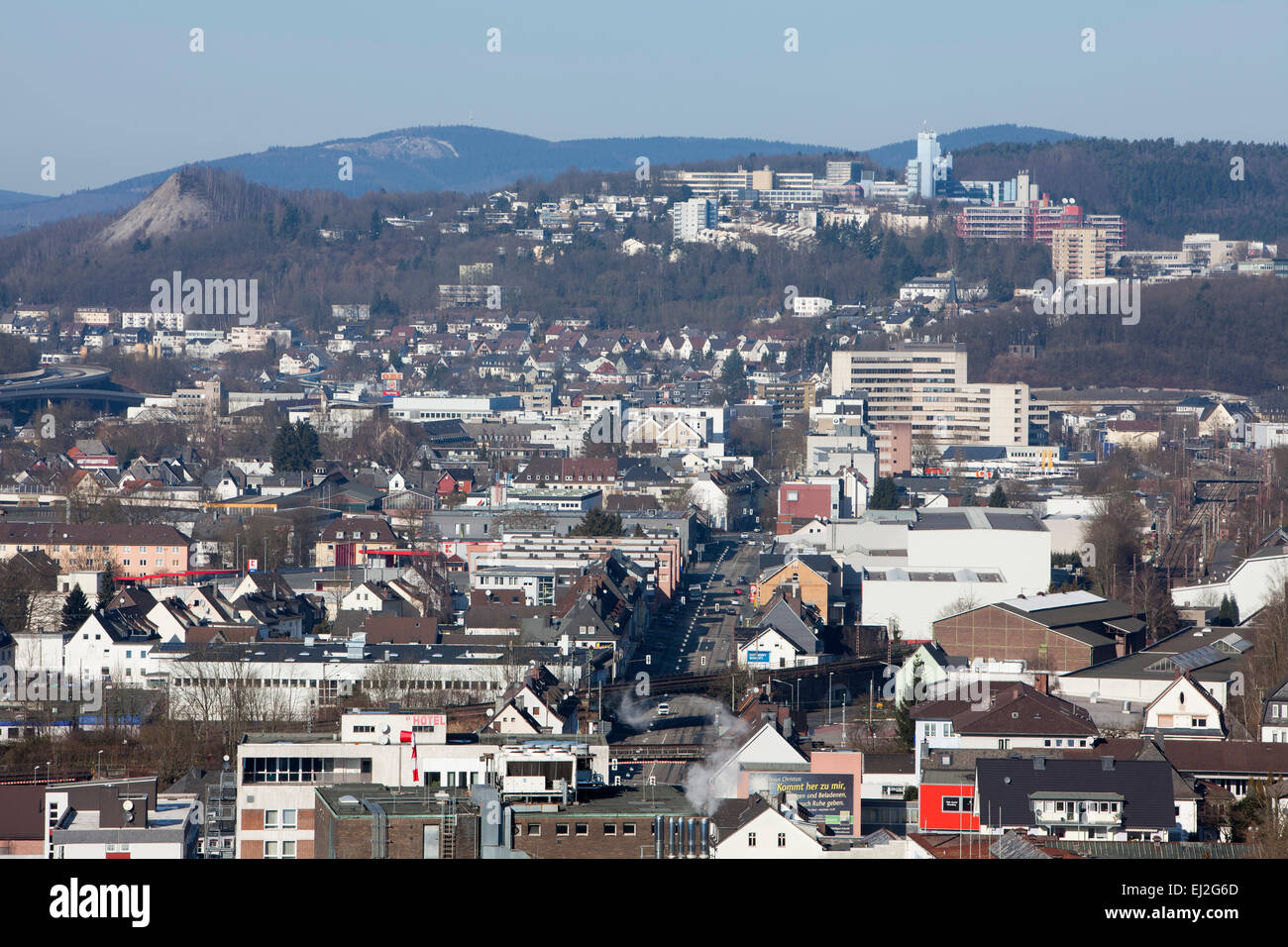 Panoramic view of Siegen, North Rhine-Westphalia, Germany, Europe,l - Stock Image