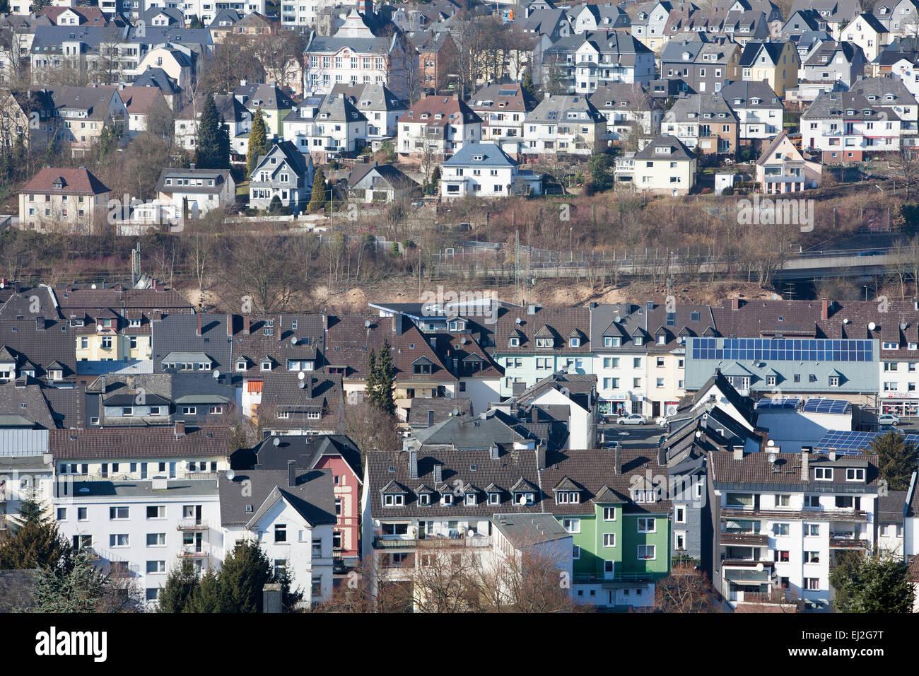 Panoramic view of Siegen, North Rhine-Westphalia, Germany, Europe, - Stock Image