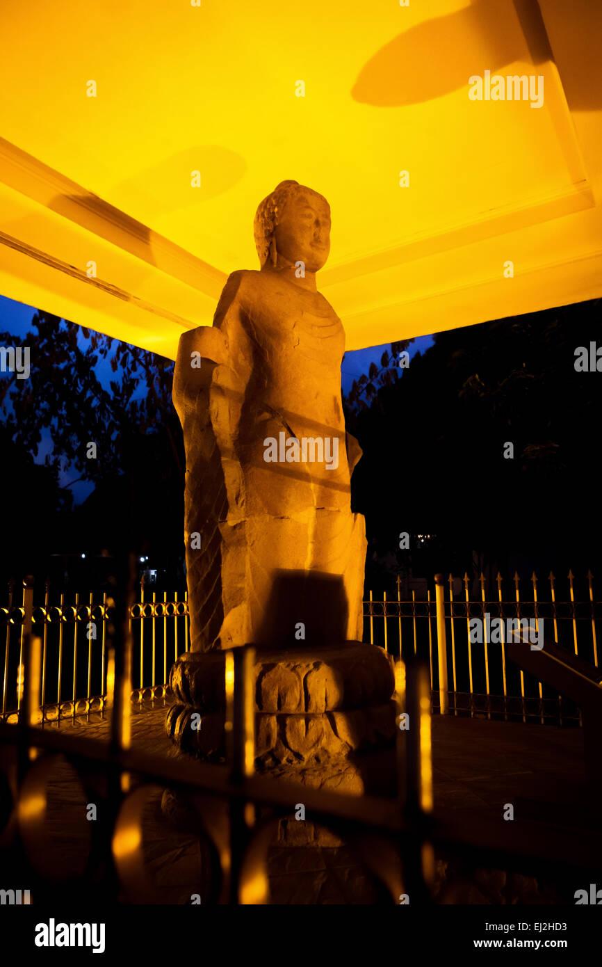 Buddha statue of Srivijaya era, ecavated from Bukit Siguntang and displayed at museum of Sultan Mahmud Badaruddin - Stock Image