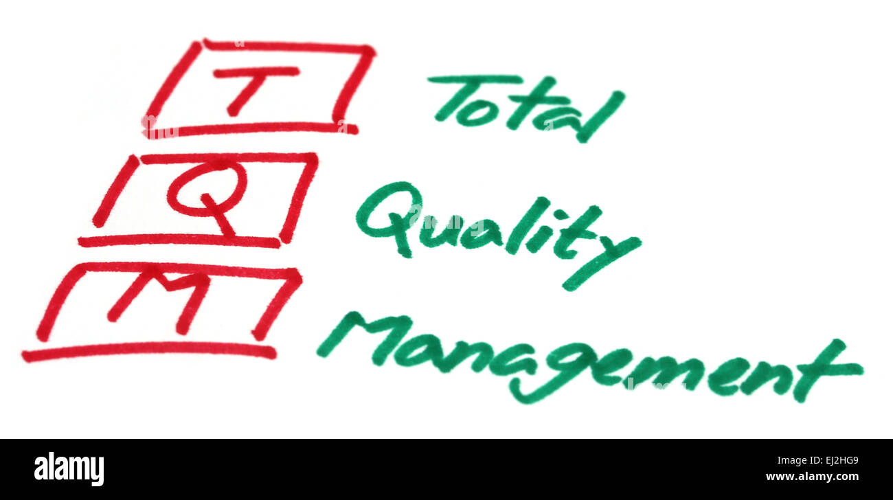 Total quality management written in white paper - Stock Image