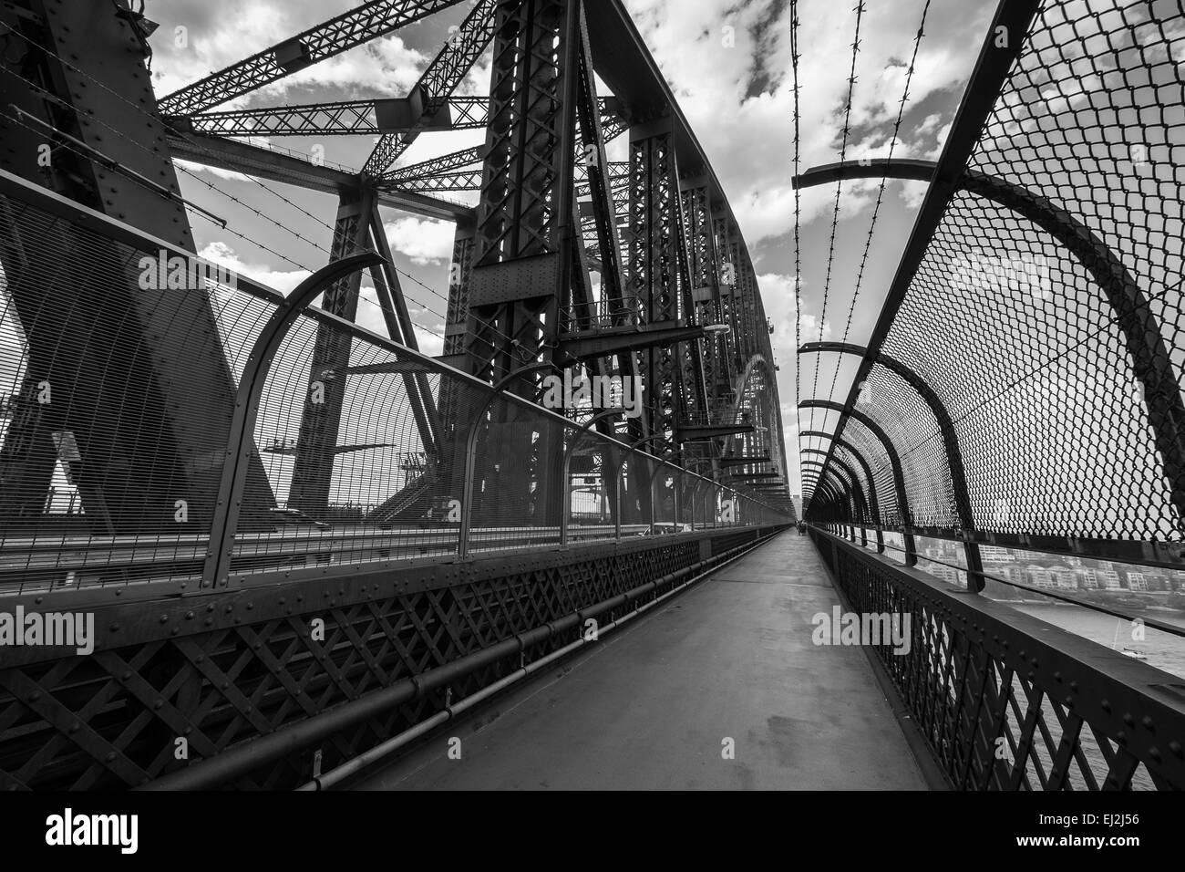 SYDNEY, AUSTRALIA - November 23, 2014: Black and white view from the walkway on the famous Sydney Harbour Bridge - Stock Image
