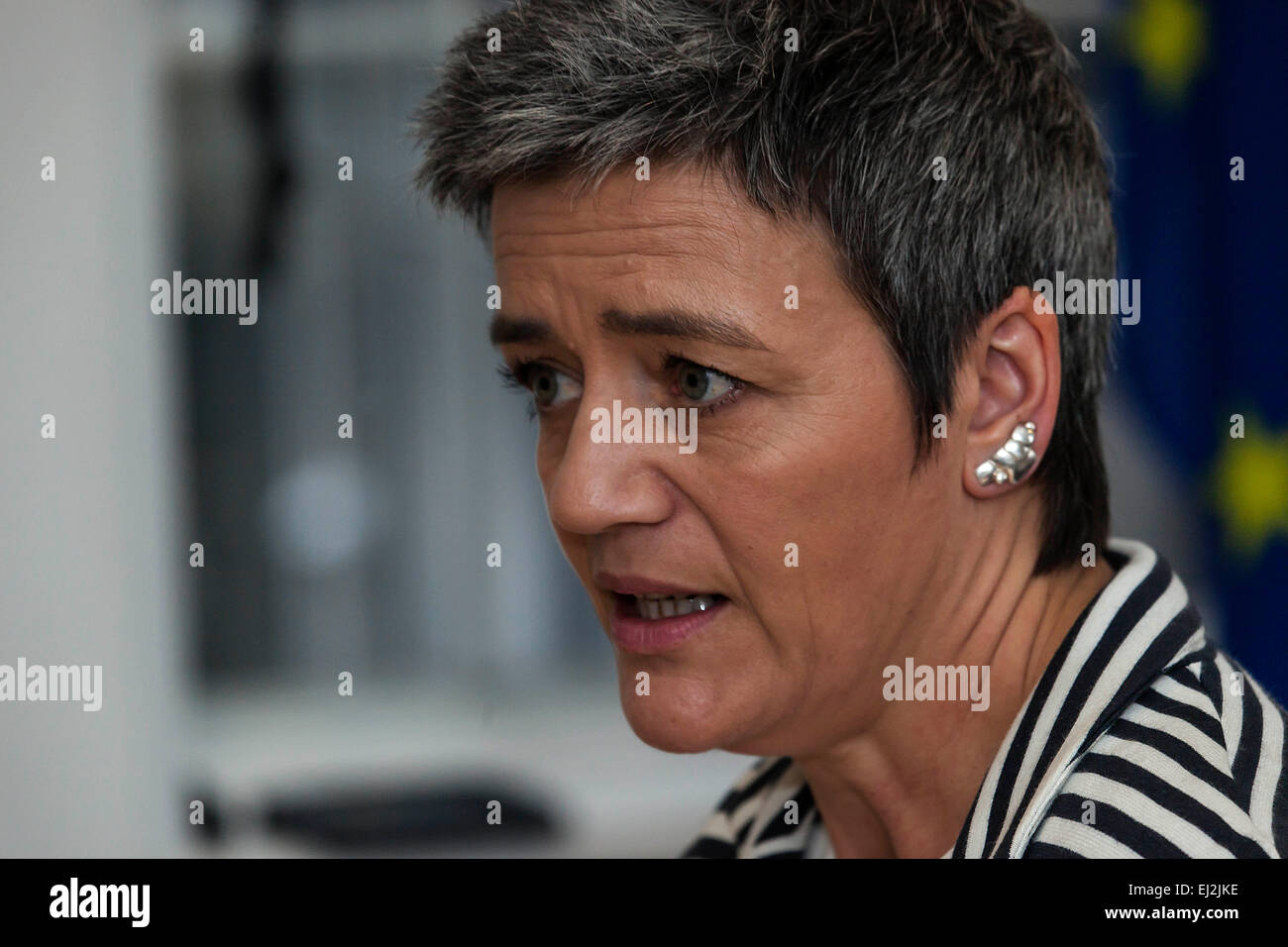 Copenhagen, Denmark, March 20th, 2015: Mrs. Margrethe Vestager, EU competition commissioner, said at a press briefing - Stock Image