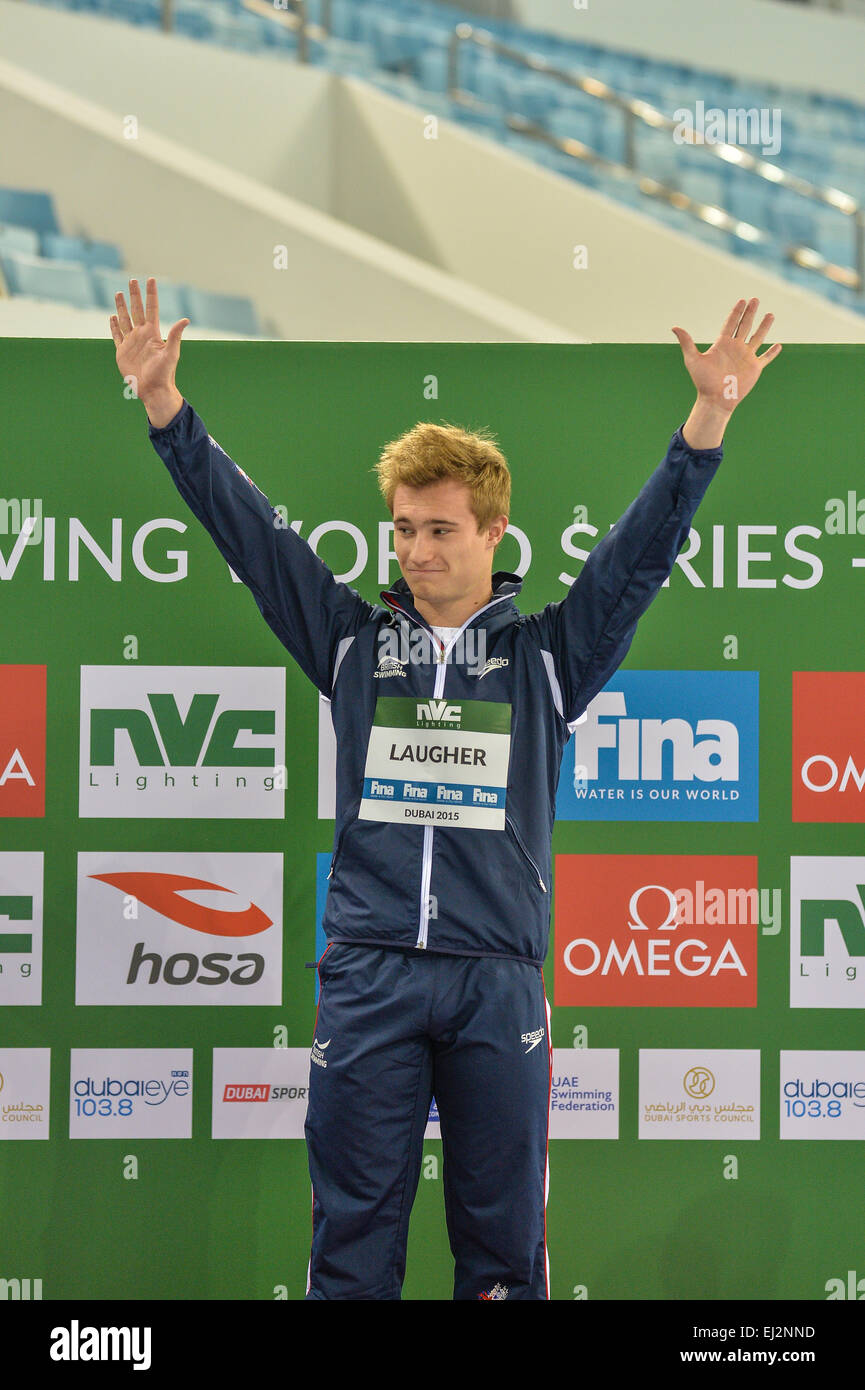 DUBAI, UAE, 20th March 2015. Britain's Jack Laugher acknowledges the crowd before receiving his 3m springboard - Stock Image