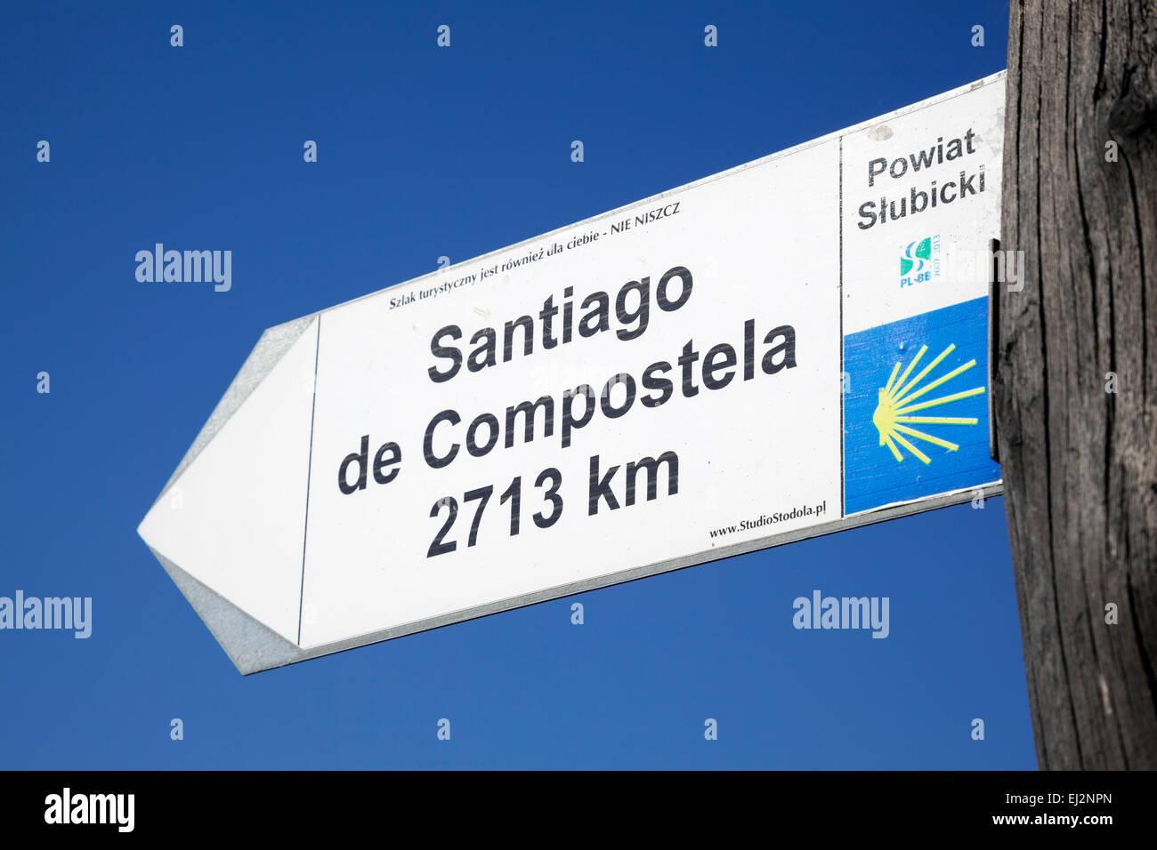 Signpost for Santiago de Compostela, Frankfurt Oder, Germany - Stock Image