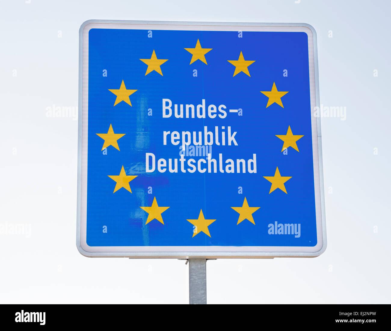 Bundes Republik Deutschland sign, Frankfurt Oder, Germany - Stock Image