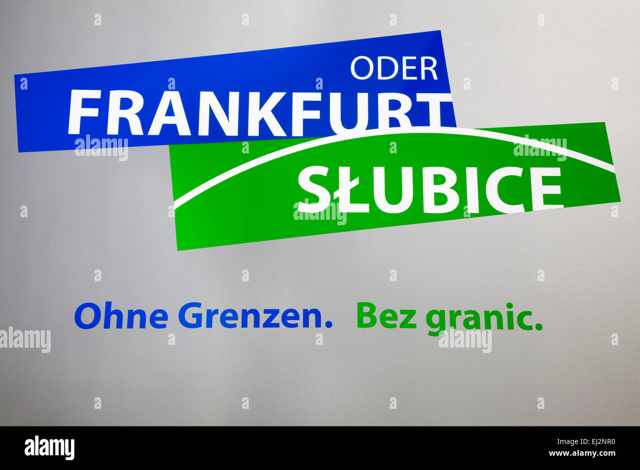 Frankfurt Oder Slubice without borders sign, Frankfurt Oder, Germany - Stock Image